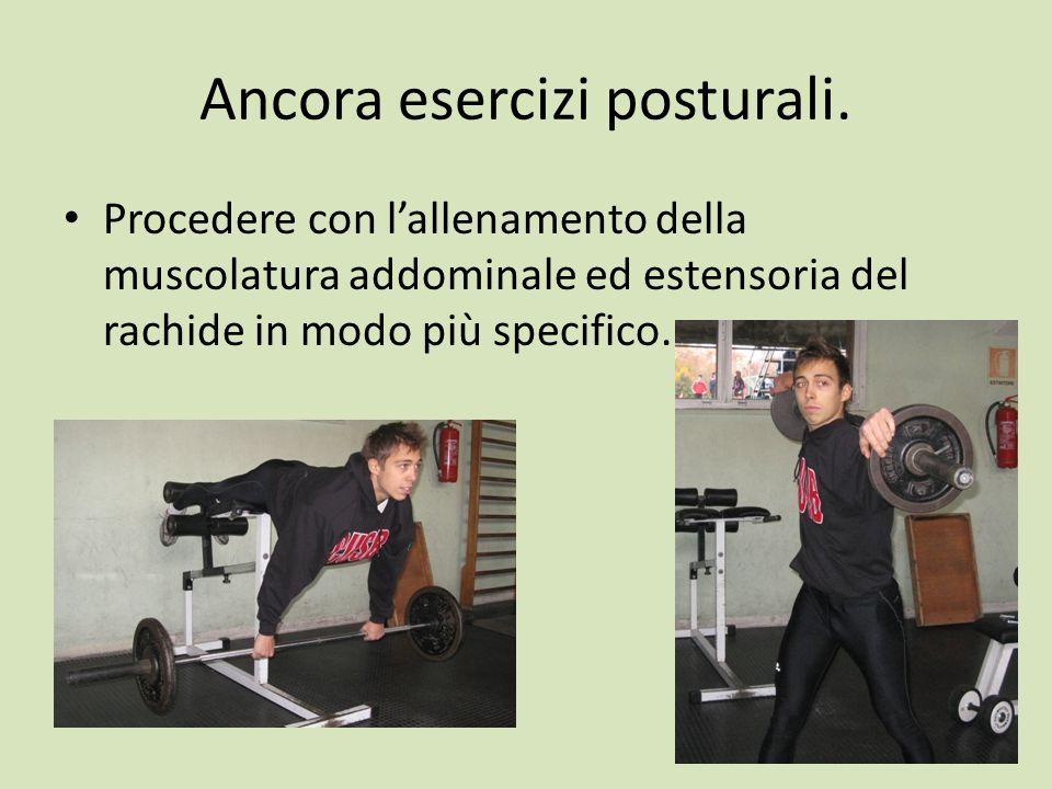 Ancora esercizi posturali. Procedere con lallenamento della muscolatura addominale ed estensoria del rachide in modo più specifico.