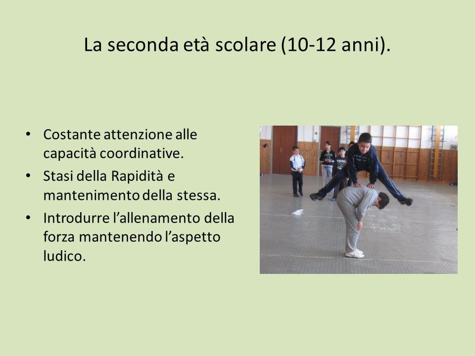 La seconda età scolare (10-12 anni).Costante attenzione alle capacità coordinative.