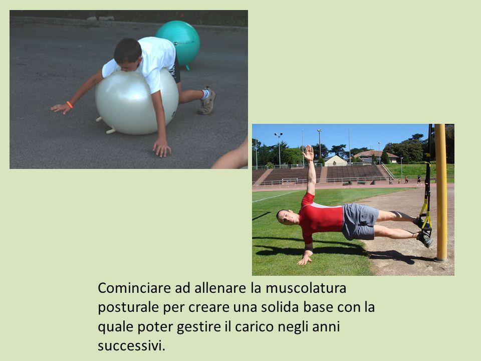 Cominciare ad allenare la muscolatura posturale per creare una solida base con la quale poter gestire il carico negli anni successivi.