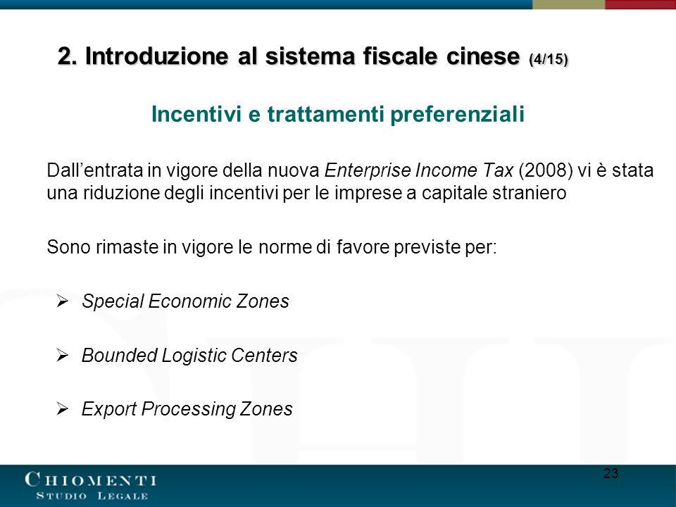 23 Incentivi e trattamenti preferenziali Dallentrata in vigore della nuova Enterprise Income Tax (2008) vi è stata una riduzione degli incentivi per l