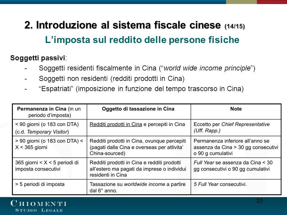 33 Limposta sul reddito delle persone fisiche Soggetti passivi: -Soggetti residenti fiscalmente in Cina (world wide income principle) -Soggetti non re