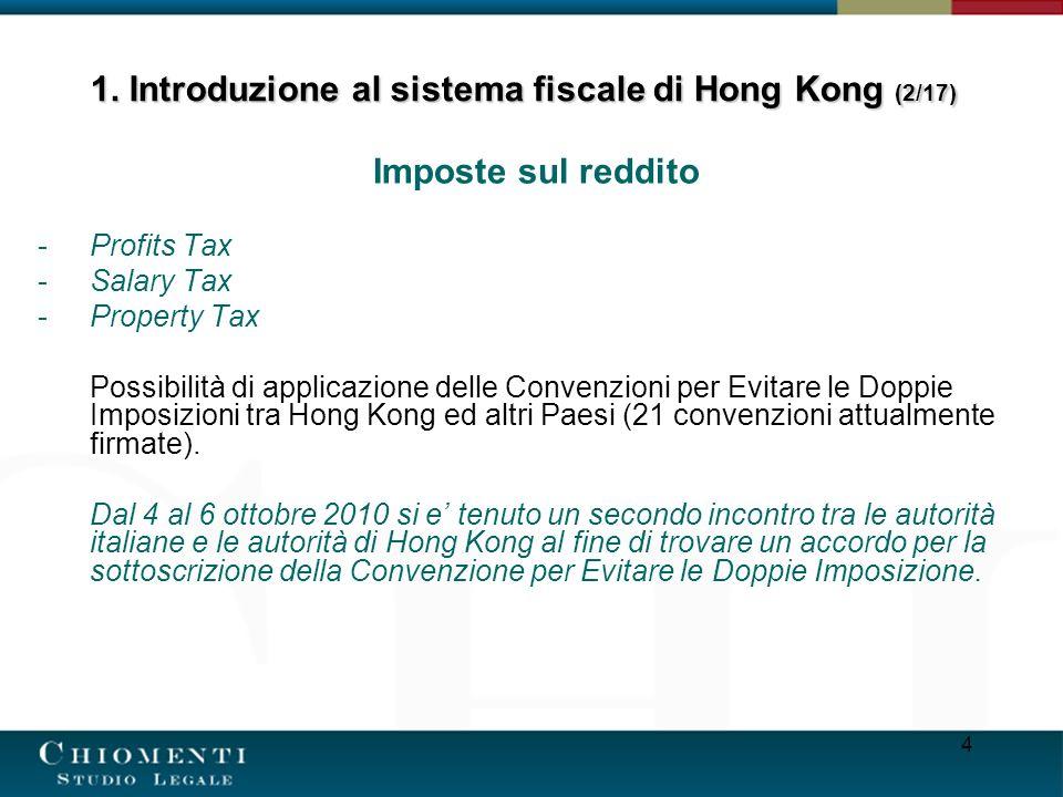 4 Imposte sul reddito -Profits Tax -Salary Tax -Property Tax Possibilità di applicazione delle Convenzioni per Evitare le Doppie Imposizioni tra Hong