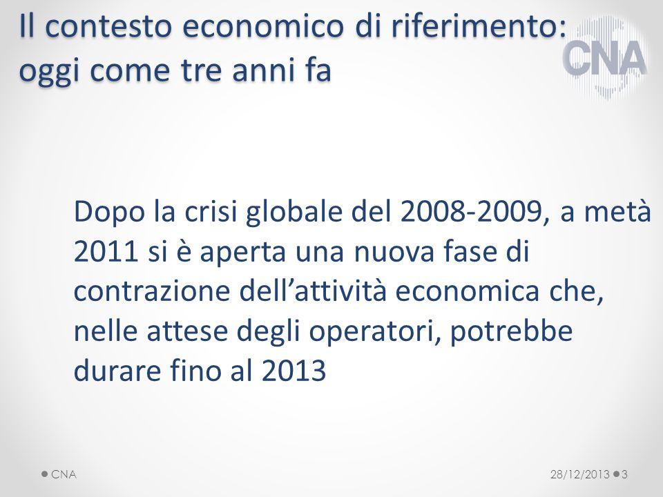 Il contesto economico di riferimento: oggi come tre anni fa Dopo la crisi globale del 2008-2009, a metà 2011 si è aperta una nuova fase di contrazione dellattività economica che, nelle attese degli operatori, potrebbe durare fino al 2013 28/12/2013CNA3