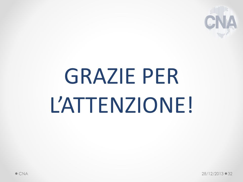 GRAZIE PER LATTENZIONE! 28/12/2013CNA32