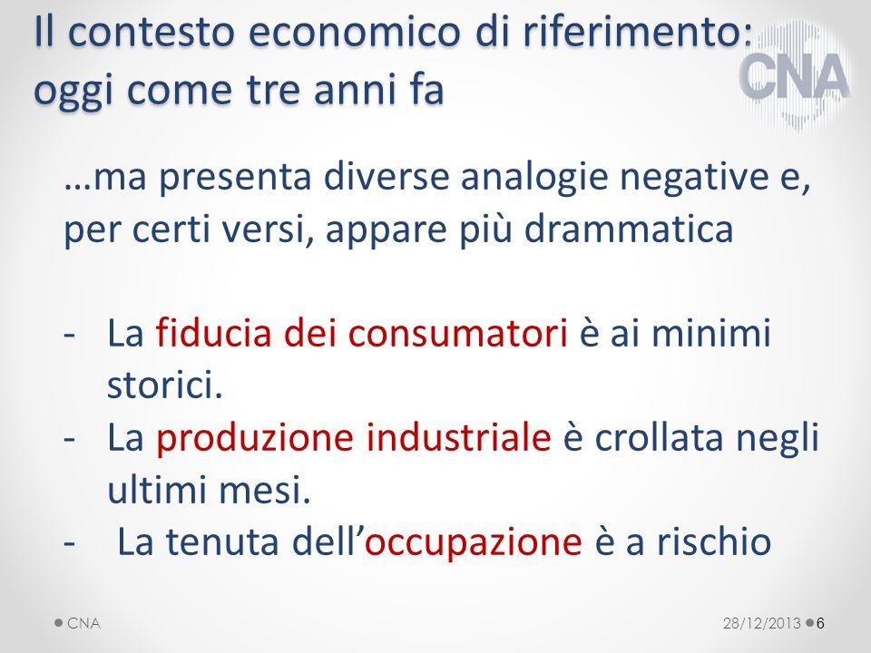 6 …ma presenta diverse analogie negative e, per certi versi, appare più drammatica -La fiducia dei consumatori è ai minimi storici.