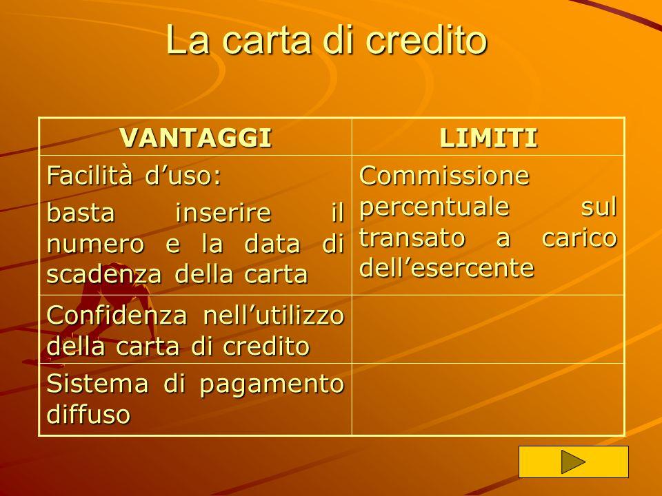 Sistemi di pagamento I principali metodi di pagamento on-line sono: Carta di Credito Carta di CreditoCarta di CreditoCarta di Credito Bonifico Bancari