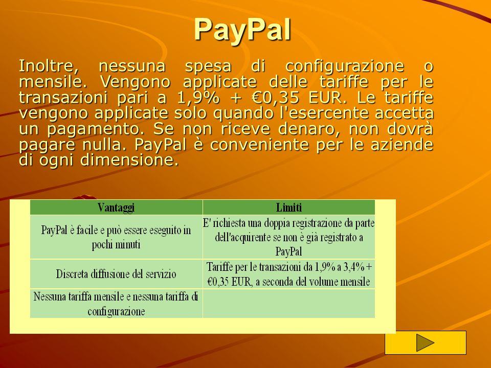PayPal PayPal è la società del gruppo eBay che consente a chiunque possieda un indirizzo email di inviare o ricevere pagamenti online. Vantaggi: Facil