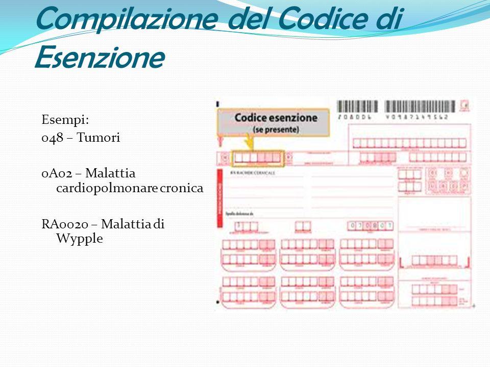 Compilazione del Codice di Esenzione Esempi: 048 – Tumori 0A02 – Malattia cardiopolmonare cronica RA0020 – Malattia di Wypple