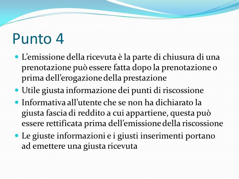 Punto 4 Lemissione della ricevuta è la parte di chiusura di una prenotazione può essere fatta dopo la prenotazione o prima dellerogazione della presta