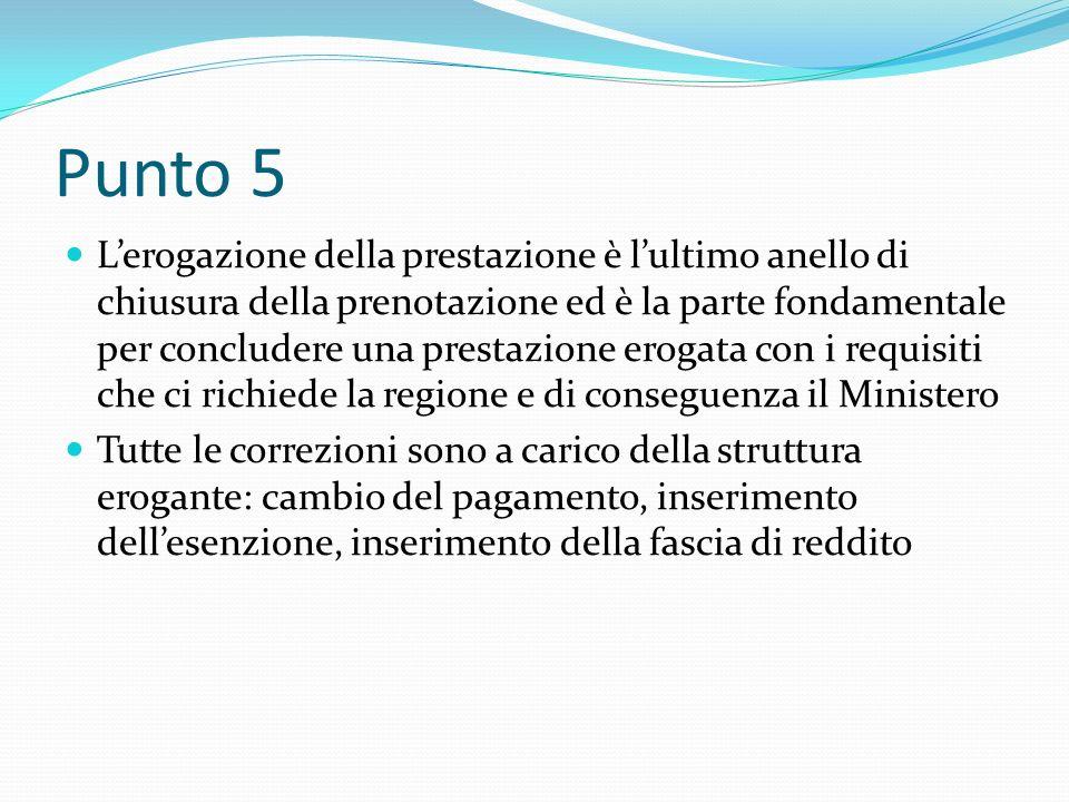 Punto 5 Lerogazione della prestazione è lultimo anello di chiusura della prenotazione ed è la parte fondamentale per concludere una prestazione erogat