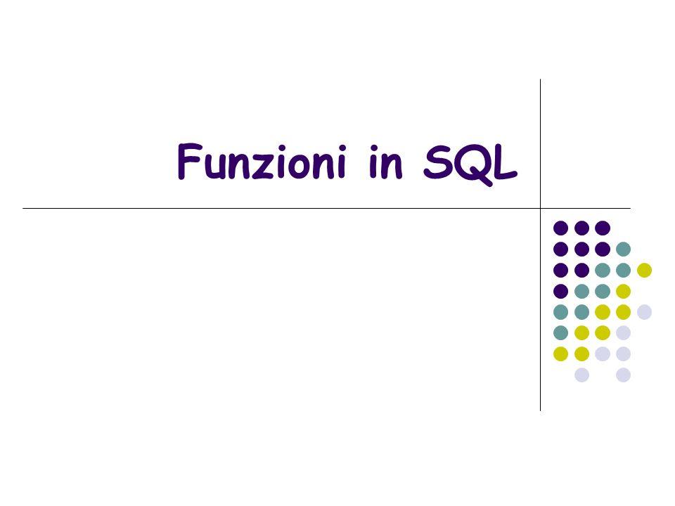 Tipi di Funzione Funzioni numeriche Funioni di stringhe Funzioni di date Funzioni di conversione Funzioni di selezione