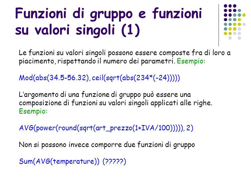 Funzioni di gruppo e funzioni su valori singoli (1) Le funzioni su valori singoli possono essere composte fra di loro a piacimento, rispettando il num