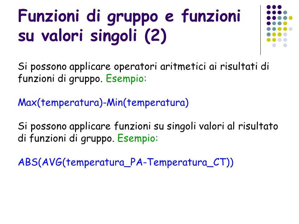 Funzioni di gruppo e funzioni su valori singoli (2) Si possono applicare operatori aritmetici ai risultati di funzioni di gruppo. Esempio: Max(tempera