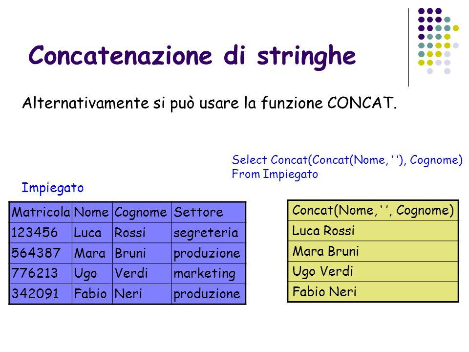 Concatenazione di stringhe Alternativamente si può usare la funzione CONCAT. Impiegato Select Concat(Concat(Nome, ), Cognome) From Impiegato Matricola