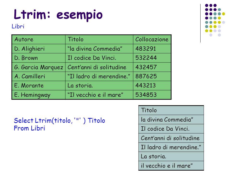 Ltrim: esempio AutoreTitoloCollocazione D. Alighierila divina Commedia483291 D. BrownIl codice Da Vinci.532244 G. Garcia MarquezCentanni di solitudine