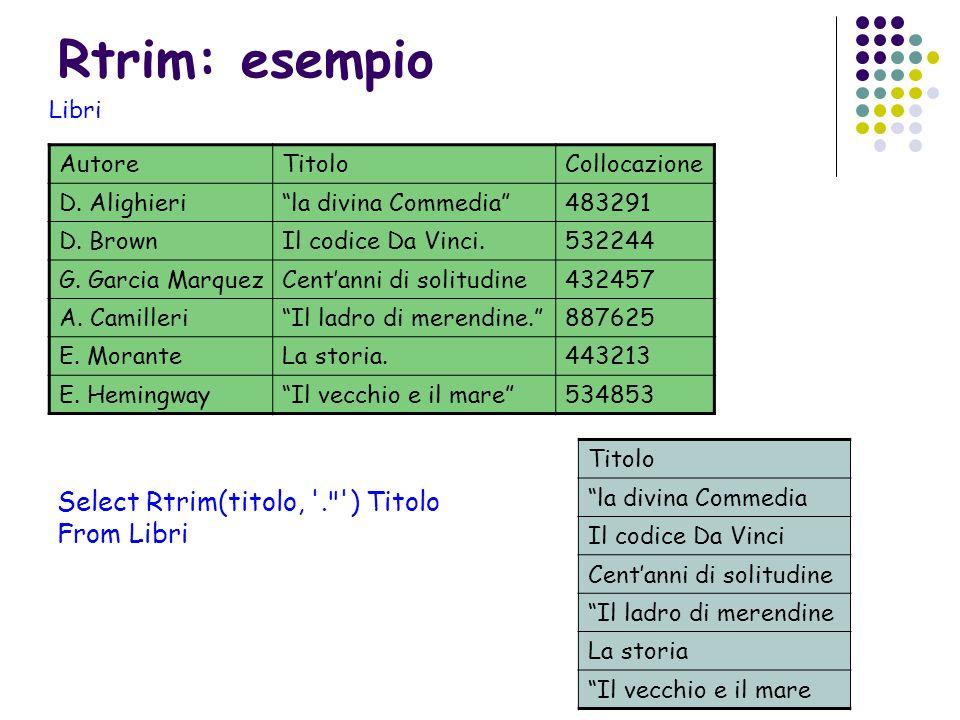 Rtrim: esempio AutoreTitoloCollocazione D. Alighierila divina Commedia483291 D. BrownIl codice Da Vinci.532244 G. Garcia MarquezCentanni di solitudine