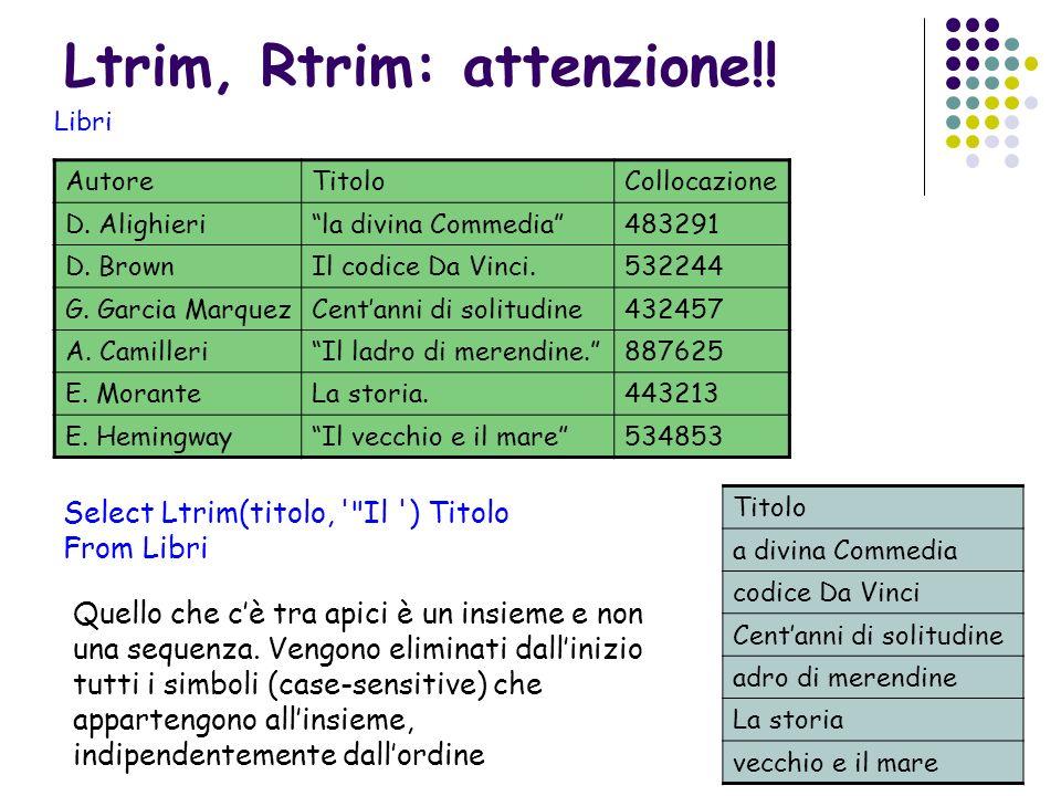 Ltrim, Rtrim: attenzione!! AutoreTitoloCollocazione D. Alighierila divina Commedia483291 D. BrownIl codice Da Vinci.532244 G. Garcia MarquezCentanni d