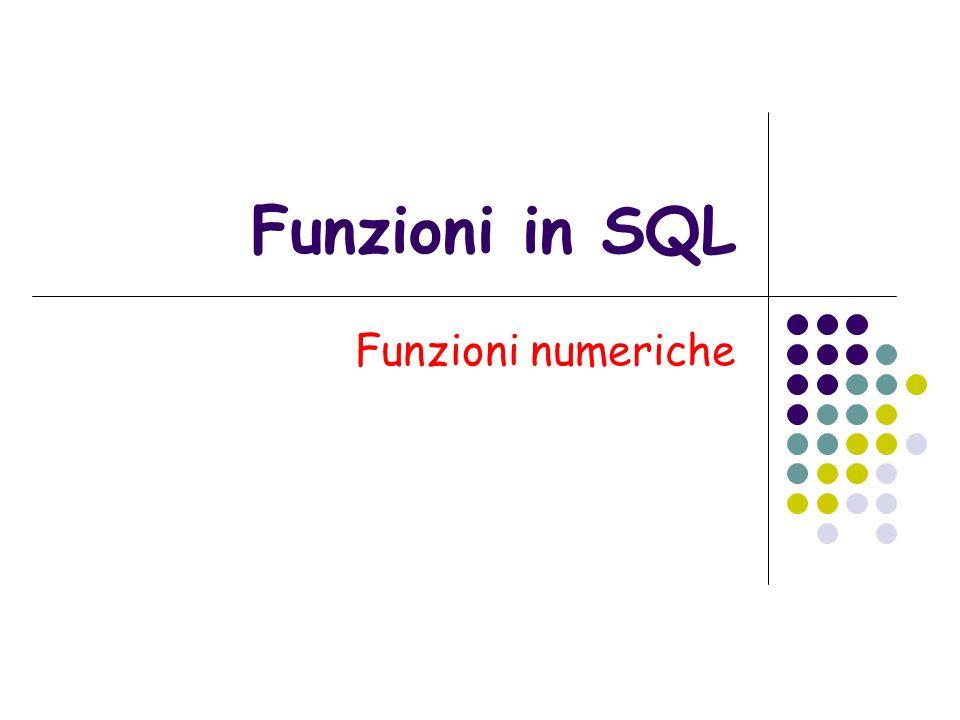 Classi di funzioni numeriche Le funzioni di Oracle si applicano a tre classi di numeri: Valori singoli O un numero vero e proprio 3365.4573 O una variabile PL/SQL Un numero tratto da una colonna o da una riga del database Gruppi di valori Sono numeri di una colonna tratti da una serie di righe Elenchi di valori serie di numeri che può comprendere Elenchi di numeri veri e propri 34, 4, 23.45, 45.3 elenchi di variabili PL/SQL Colonne