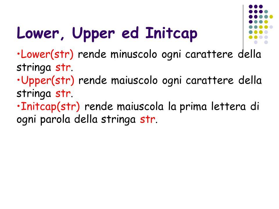 Lower, Upper ed Initcap Lower(str) rende minuscolo ogni carattere della stringa str. Upper(str) rende maiuscolo ogni carattere della stringa str. Init