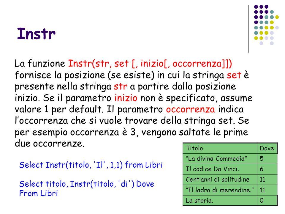 Instr La funzione Instr(str, set [, inizio[, occorrenza]]) fornisce la posizione (se esiste) in cui la stringa set è presente nella stringa str a part