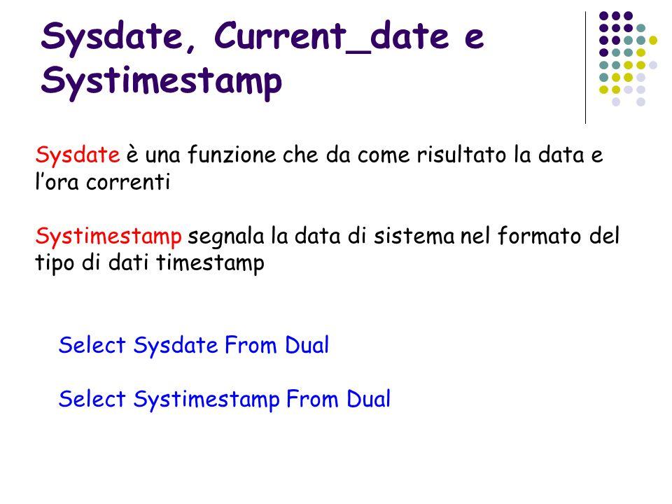 Sysdate, Current_date e Systimestamp Sysdate è una funzione che da come risultato la data e lora correnti Systimestamp segnala la data di sistema nel