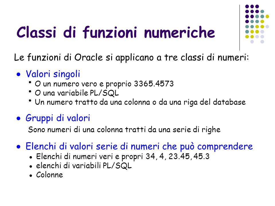 Alcune funzioni numeriche a valori singoli Addizione Sottrazione Moltiplicazione Divisione Valore assoluto Parte intera superiore Parte intera inferiore Logaritmo naturale Logaritmo in base 10 Esponenziale in base e Valore elevato a esponente Radice quadrata Modulo Sostituto di valore se il valore è nullo Arrotondamento a valore di precisione Valore troncato a precisione valore1+valore2 valore1-valore2 valore1*valore2 valore1/valore2 ABS(valore) CEIL(valore) FLOOR(valore) LN(valore) LOG(valore) EXP(valore) POWER(Valore, esponente) SQRT(valore) MOD(valore, divisore) NVL(valore, sostituto) ROUND(valore, precisione) TRUNC(valore, precisione)
