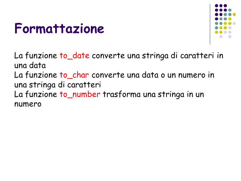 Formattazione La funzione to_date converte una stringa di caratteri in una data La funzione to_char converte una data o un numero in una stringa di ca