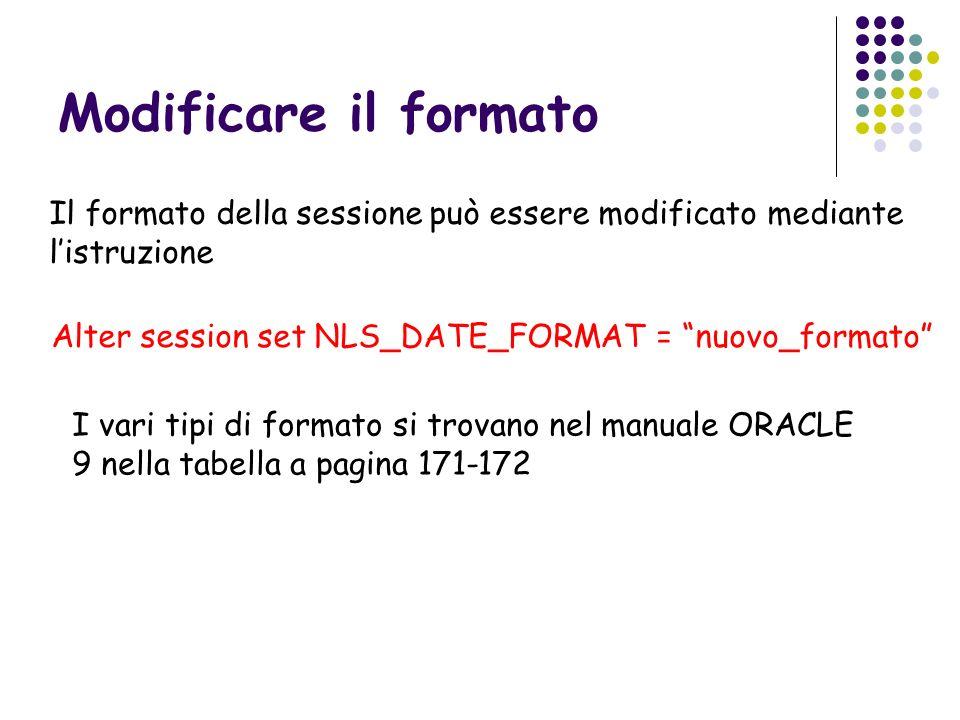 Modificare il formato Il formato della sessione può essere modificato mediante listruzione Alter session set NLS_DATE_FORMAT = nuovo_formato I vari ti