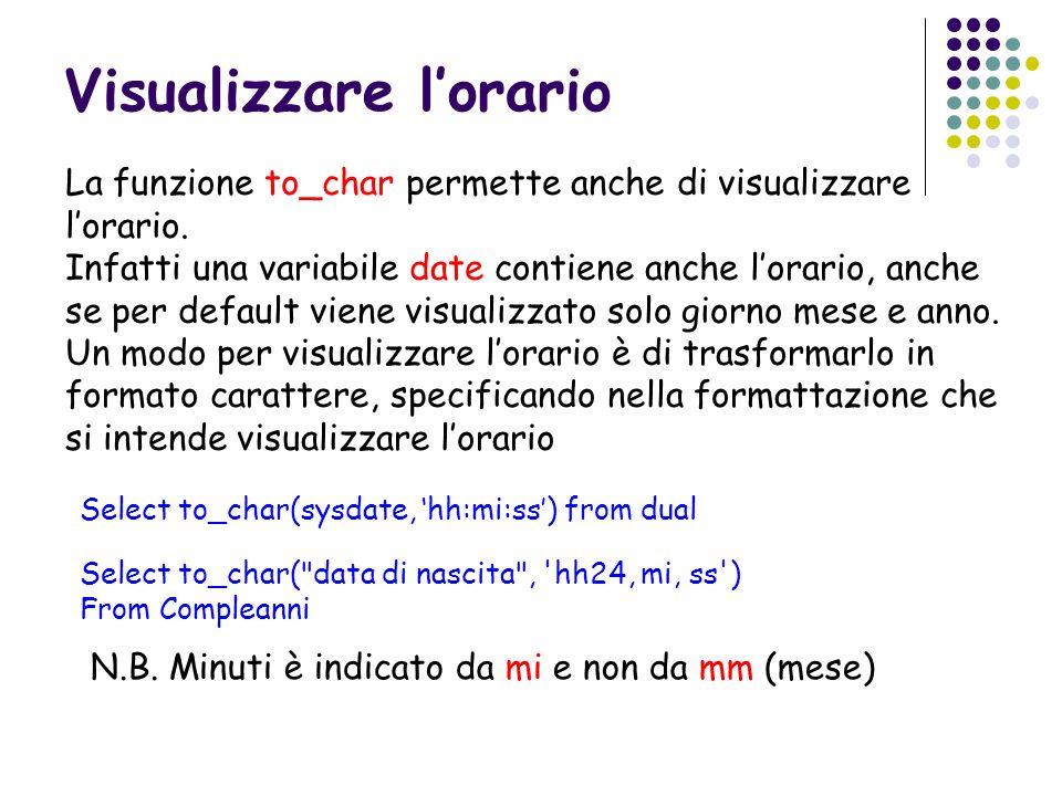 Visualizzare lorario La funzione to_char permette anche di visualizzare lorario. Infatti una variabile date contiene anche lorario, anche se per defau