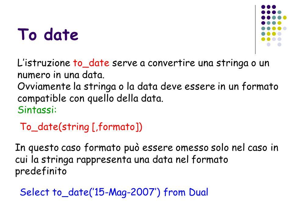 To date Listruzione to_date serve a convertire una stringa o un numero in una data. Ovviamente la stringa o la data deve essere in un formato compatib