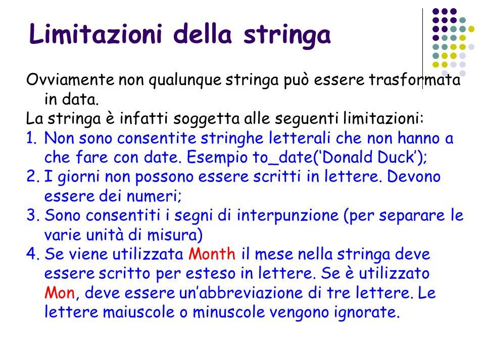 Limitazioni della stringa Ovviamente non qualunque stringa può essere trasformata in data. La stringa è infatti soggetta alle seguenti limitazioni: 1.