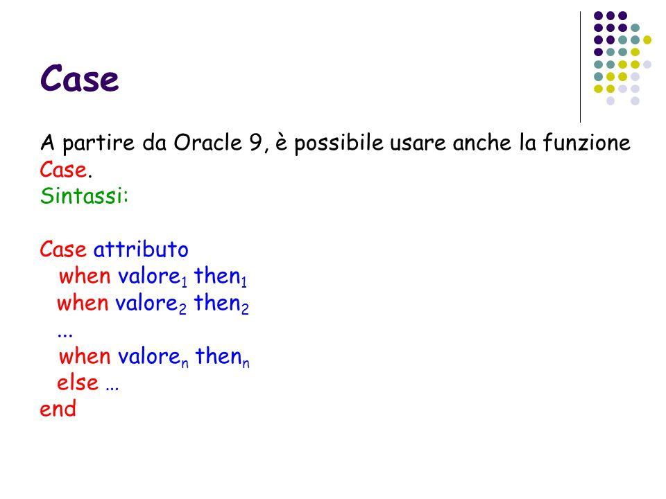 Case A partire da Oracle 9, è possibile usare anche la funzione Case. Sintassi: Case attributo when valore 1 then 1 when valore 2 then 2... when valor