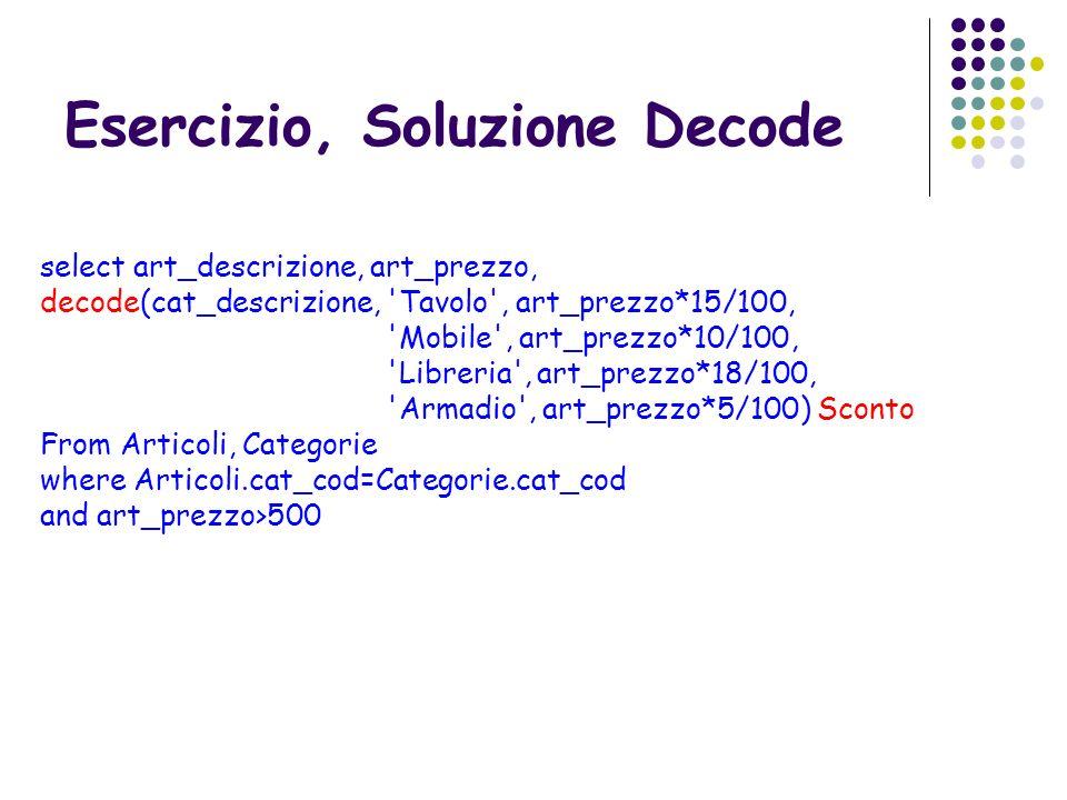 Esercizio, Soluzione Decode select art_descrizione, art_prezzo, decode(cat_descrizione, 'Tavolo', art_prezzo*15/100, 'Mobile', art_prezzo*10/100, 'Lib