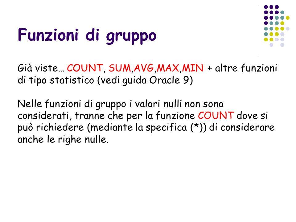 Funzioni di gruppo Già viste… COUNT, SUM,AVG,MAX,MIN + altre funzioni di tipo statistico (vedi guida Oracle 9) Nelle funzioni di gruppo i valori nulli