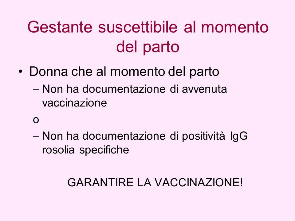 Donna che al momento del parto –Non ha documentazione di avvenuta vaccinazione o –Non ha documentazione di positività IgG rosolia specifiche GARANTIRE