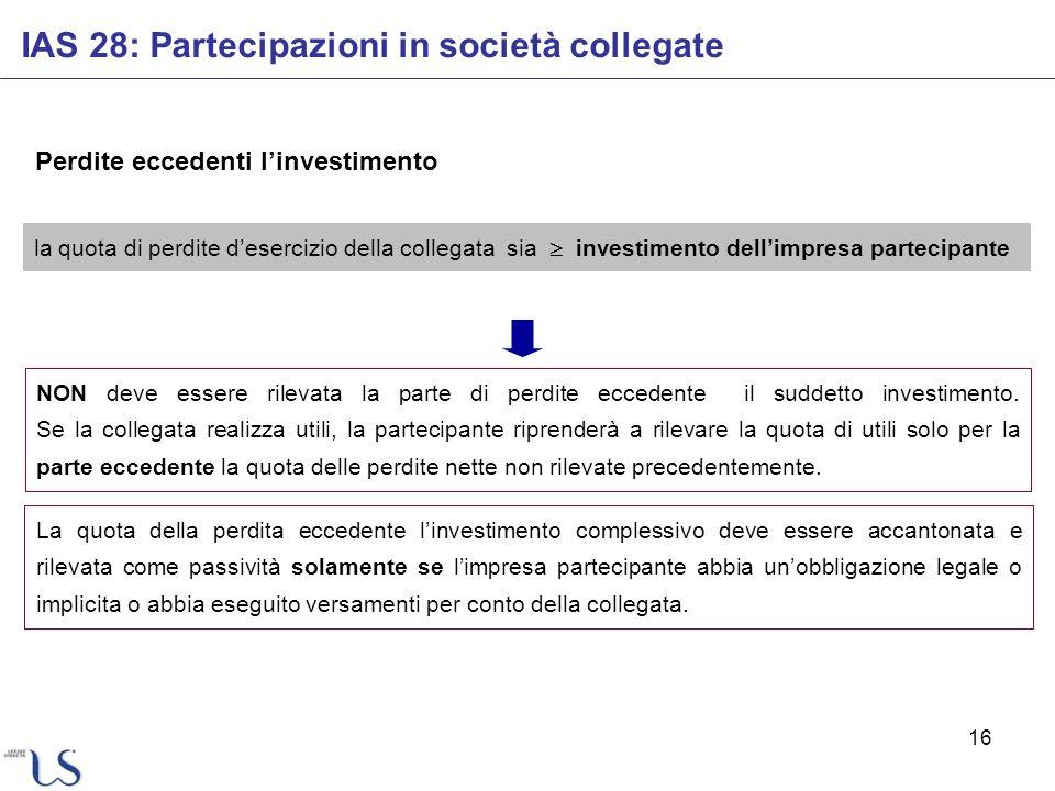 16 Perdite eccedenti linvestimento IAS 28: Partecipazioni in società collegate la quota di perdite desercizio della collegata sia investimento dellimp