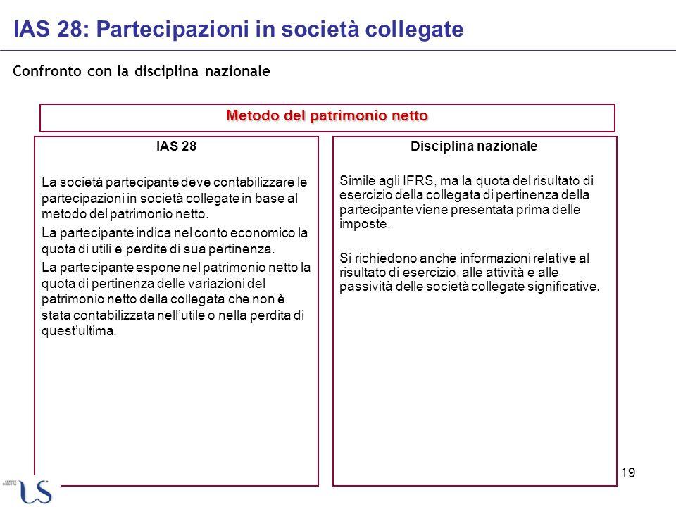 19 Confronto con la disciplina nazionale IAS 28 La società partecipante deve contabilizzare le partecipazioni in società collegate in base al metodo d