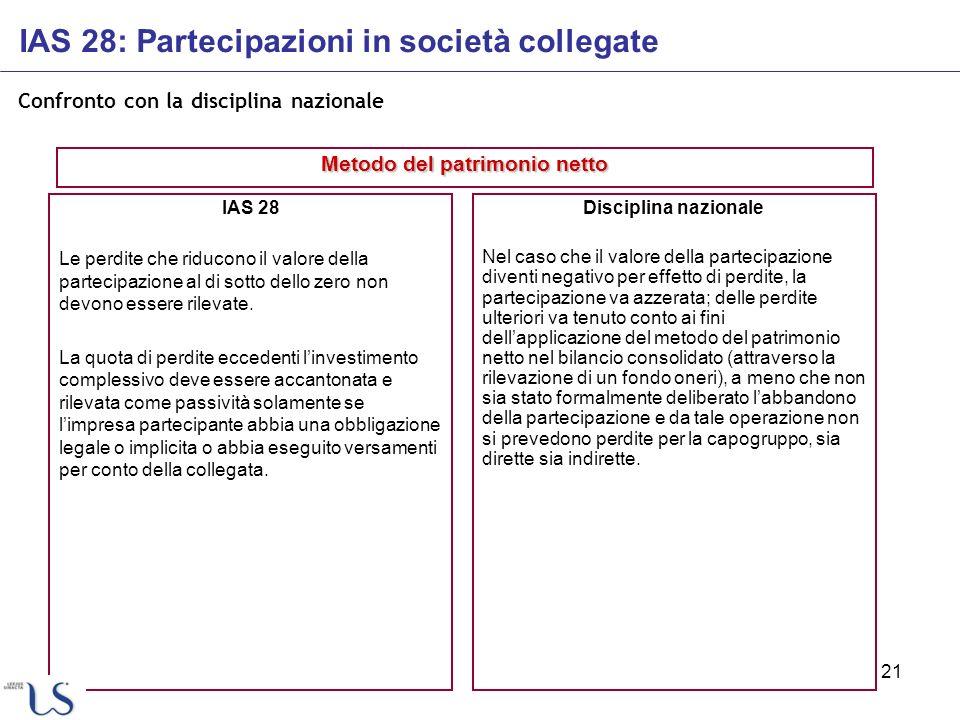 21 Confronto con la disciplina nazionale IAS 28 Le perdite che riducono il valore della partecipazione al di sotto dello zero non devono essere rileva