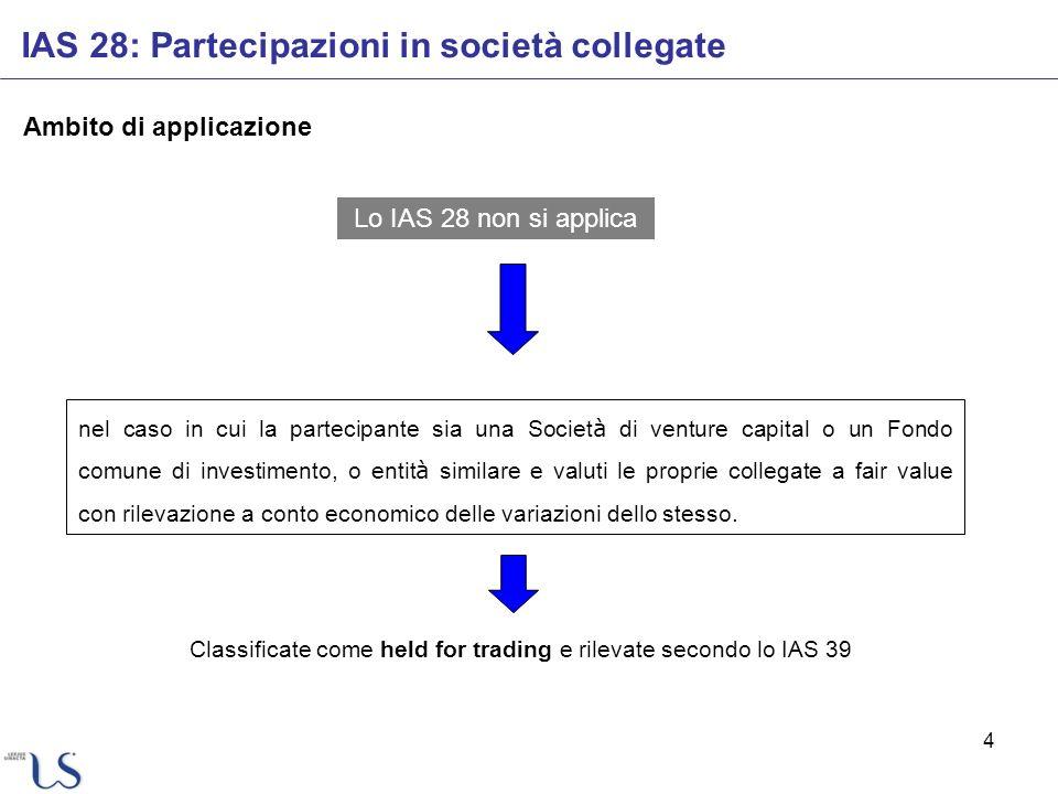 4 Ambito di applicazione Lo IAS 28 non si applica nel caso in cui la partecipante sia una Societ à di venture capital o un Fondo comune di investiment