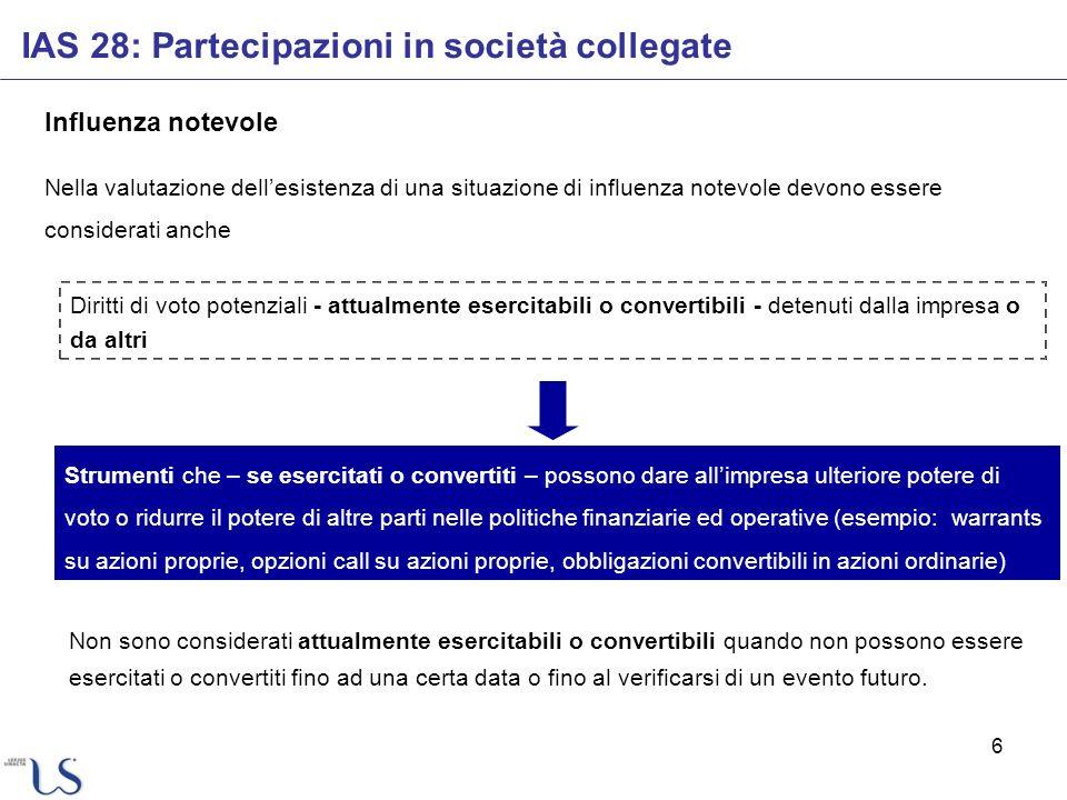 17 Dividendi IAS 28: Partecipazioni in società collegate Rettifiche al valore della partecipazione iscritto possono essere necessarie anche a seguito di variazioni nel patrimonio netto della collegata che non siano transitate nel conto economico.