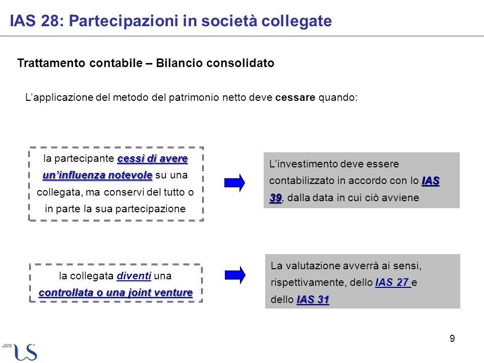 9 Trattamento contabile – Bilancio consolidato IAS 28: Partecipazioni in società collegate Lapplicazione del metodo del patrimonio netto deve cessare