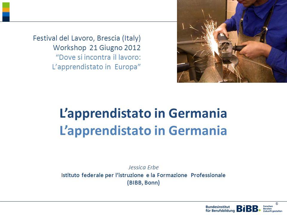 ® Lapprendistato in Germania Festival del Lavoro, Brescia (Italy) Workshop21 Giugno 2012 Dove si incontra il lavoro: Lapprendistato in Europa Jessica