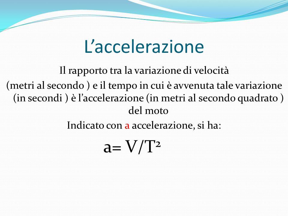 Laccelerazione Il rapporto tra la variazione di velocità (metri al secondo ) e il tempo in cui è avvenuta tale variazione (in secondi ) è laccelerazione (in metri al secondo quadrato ) del moto Indicato con a accelerazione, si ha: a= V/T 2