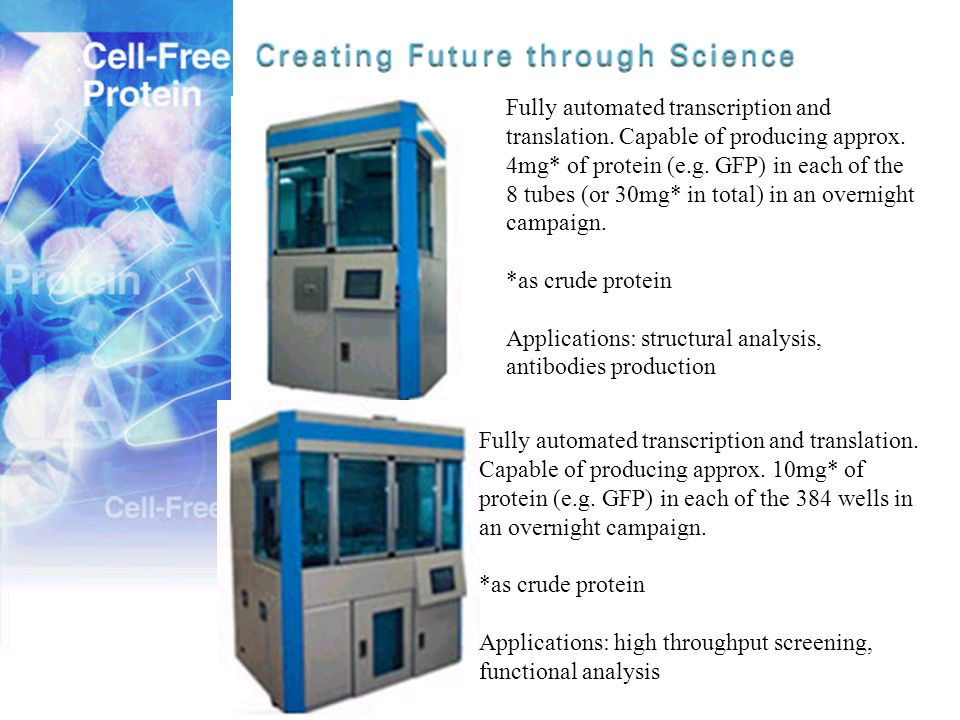 Fully automated transcription and translation. Capable of producing approx. 4mg* of protein (e.g. GFP) in each of the 8 tubes (or 30mg* in total) in a