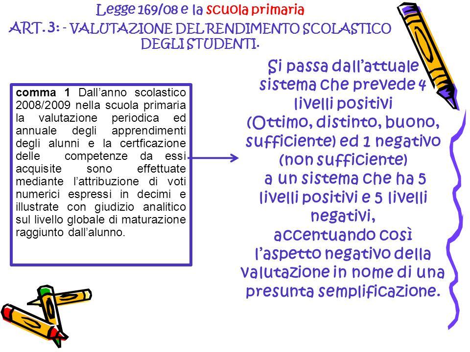 Si passa dallattuale sistema che prevede 4 livelli positivi (Ottimo, distinto, buono, sufficiente) ed 1 negativo (non sufficiente) a un sistema che ha
