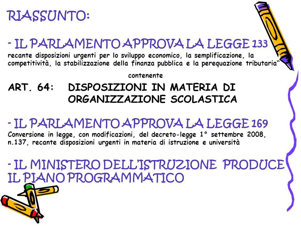RIASSUNTO: - IL PARLAMENTO APPROVA LA LEGGE 133 recante disposizioni urgenti per lo sviluppo economico, la semplificazione, la competitività, la stabi