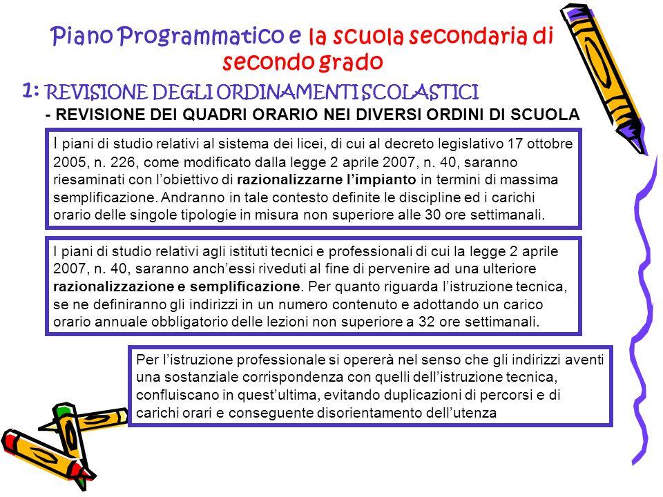 Piano Programmatico e la scuola secondaria di secondo grado 1: REVISIONE DEGLI ORDINAMENTI SCOLASTICI - REVISIONE DEI QUADRI ORARIO NEI DIVERSI ORDINI