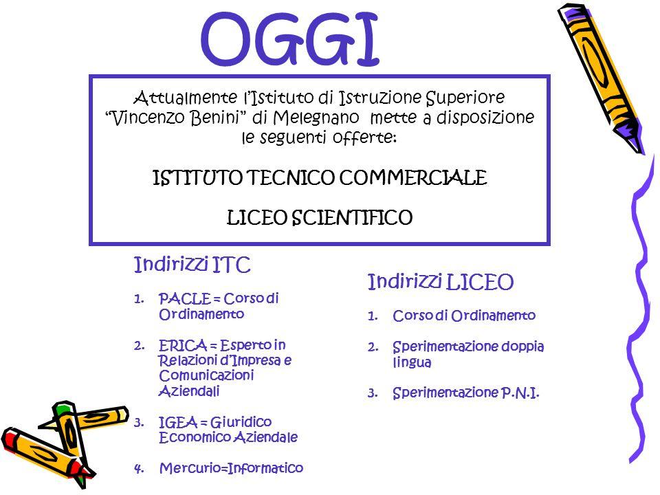 OGGI Attualmente lIstituto di Istruzione Superiore Vincenzo Benini di Melegnano mette a disposizione le seguenti offerte: ISTITUTO TECNICO COMMERCIALE