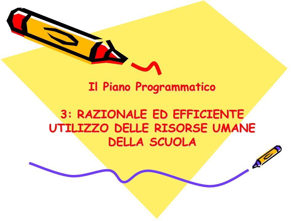 Il Piano Programmatico 3: RAZIONALE ED EFFICIENTE UTILIZZO DELLE RISORSE UMANE DELLA SCUOLA