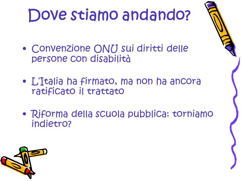Dove stiamo andando? Convenzione ONU sui diritti delle persone con disabilit à L Italia ha firmato, ma non ha ancora ratificato il trattato Riforma de
